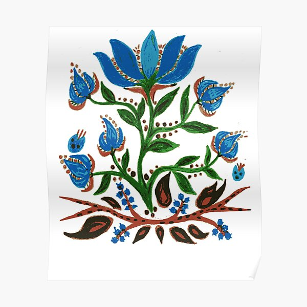 Burst of Blue Flowers Poster