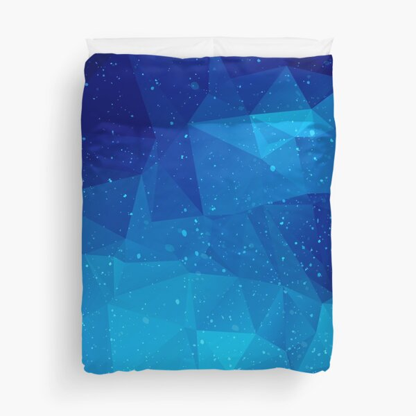 Blue Galaxy Low Poly, Geometric Outer Space Design, featuring Galaxies Duvet Cover