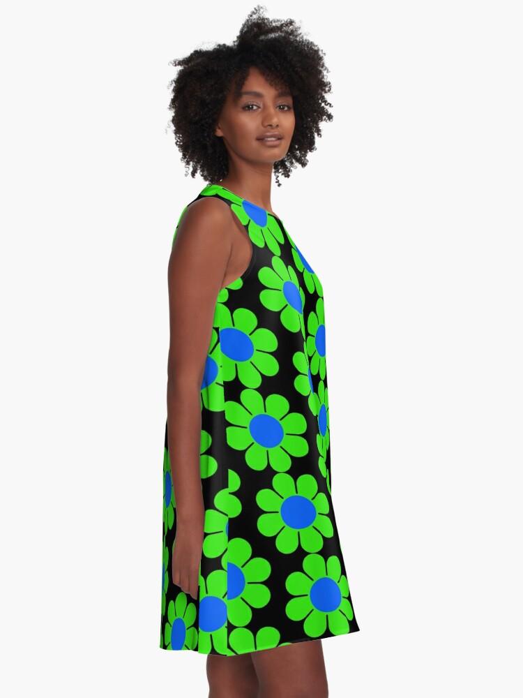 Alternate view of Green Blue Hippy Flower Daisy A-Line Dress