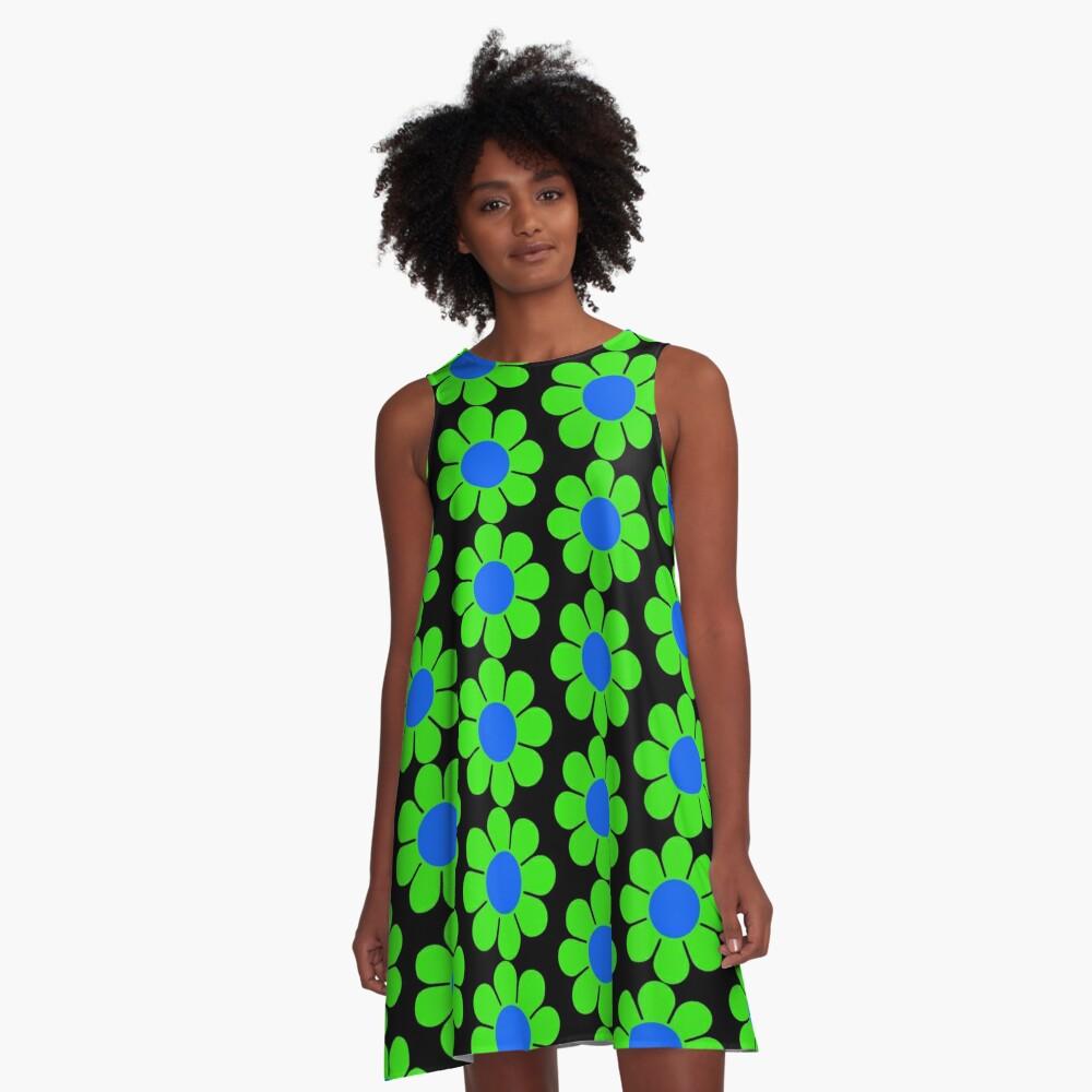 Green Blue Hippy Flower Daisy A-Line Dress