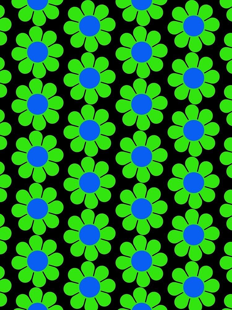Green Blue Hippy Flower Daisy by hilda74