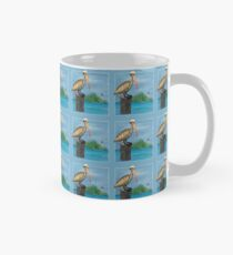 Brown Pelican At Sea With Lighthouse Classic Mug