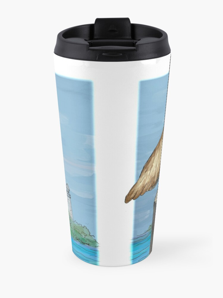 Alternate view of Brown Pelican At Sea With Lighthouse Travel Mug