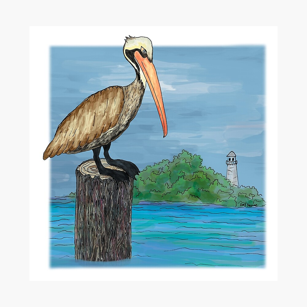 Brown Pelican At Sea With Lighthouse Photographic Print