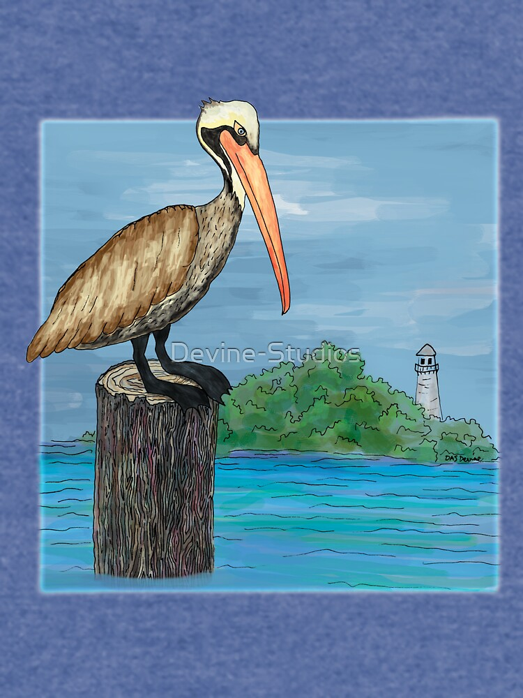 Brown Pelican At Sea With Lighthouse by Devine-Studios