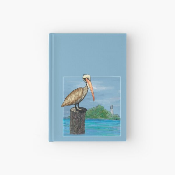 Brown Pelican At Sea With Lighthouse Hardcover Journal