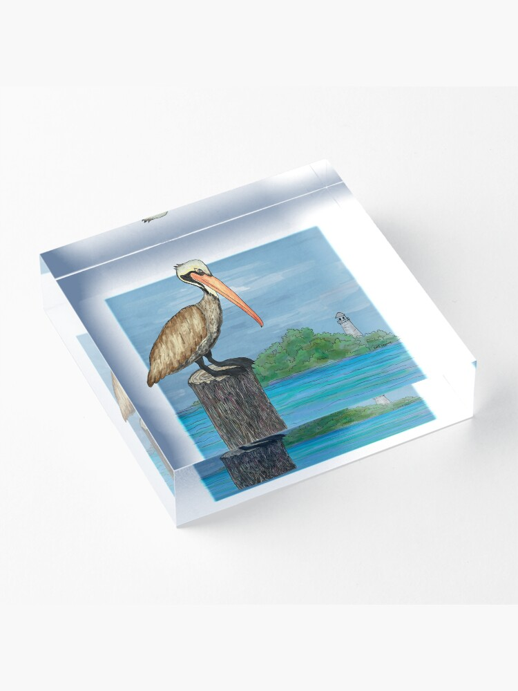 Alternate view of Brown Pelican At Sea With Lighthouse Acrylic Block