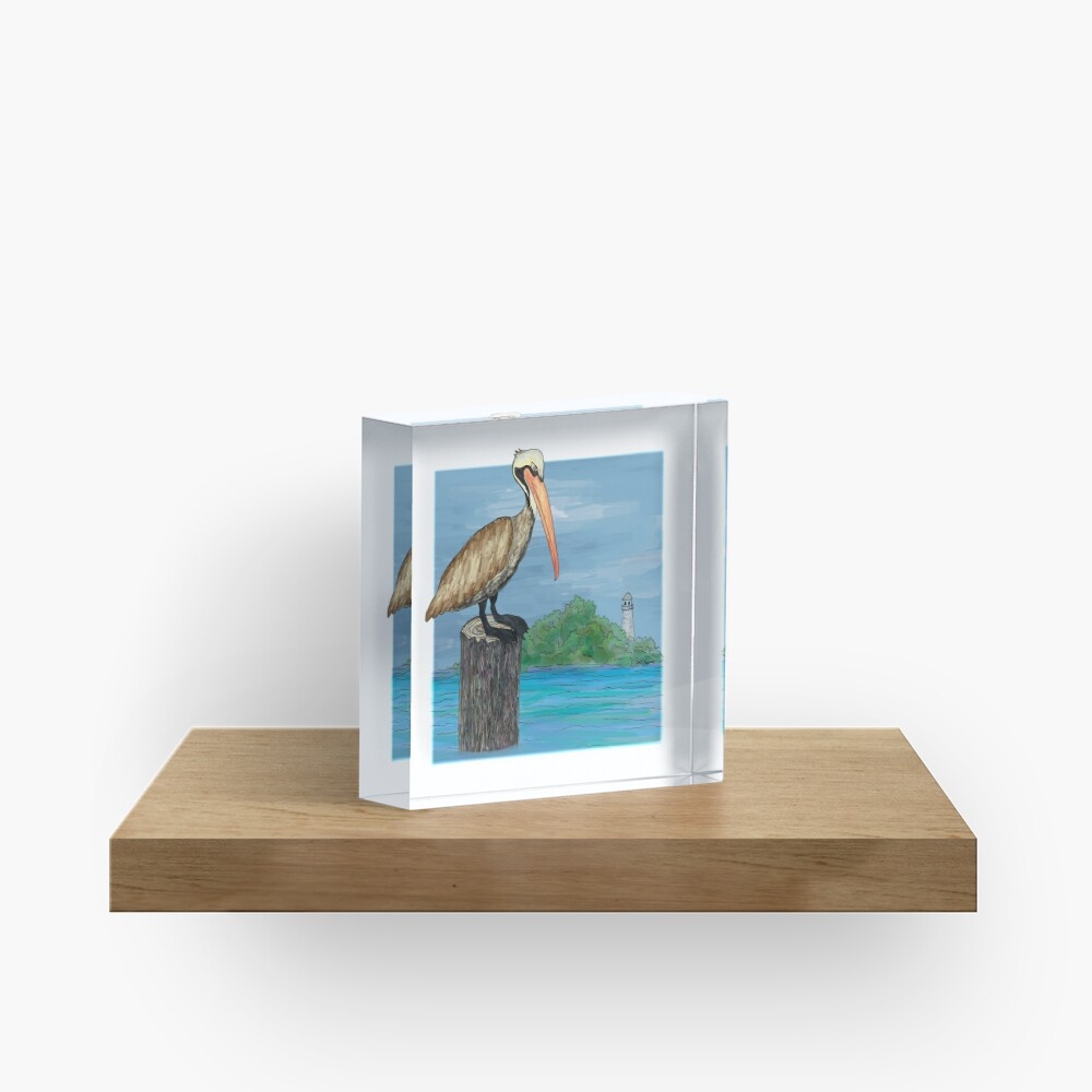 Brown Pelican At Sea With Lighthouse Acrylic Block