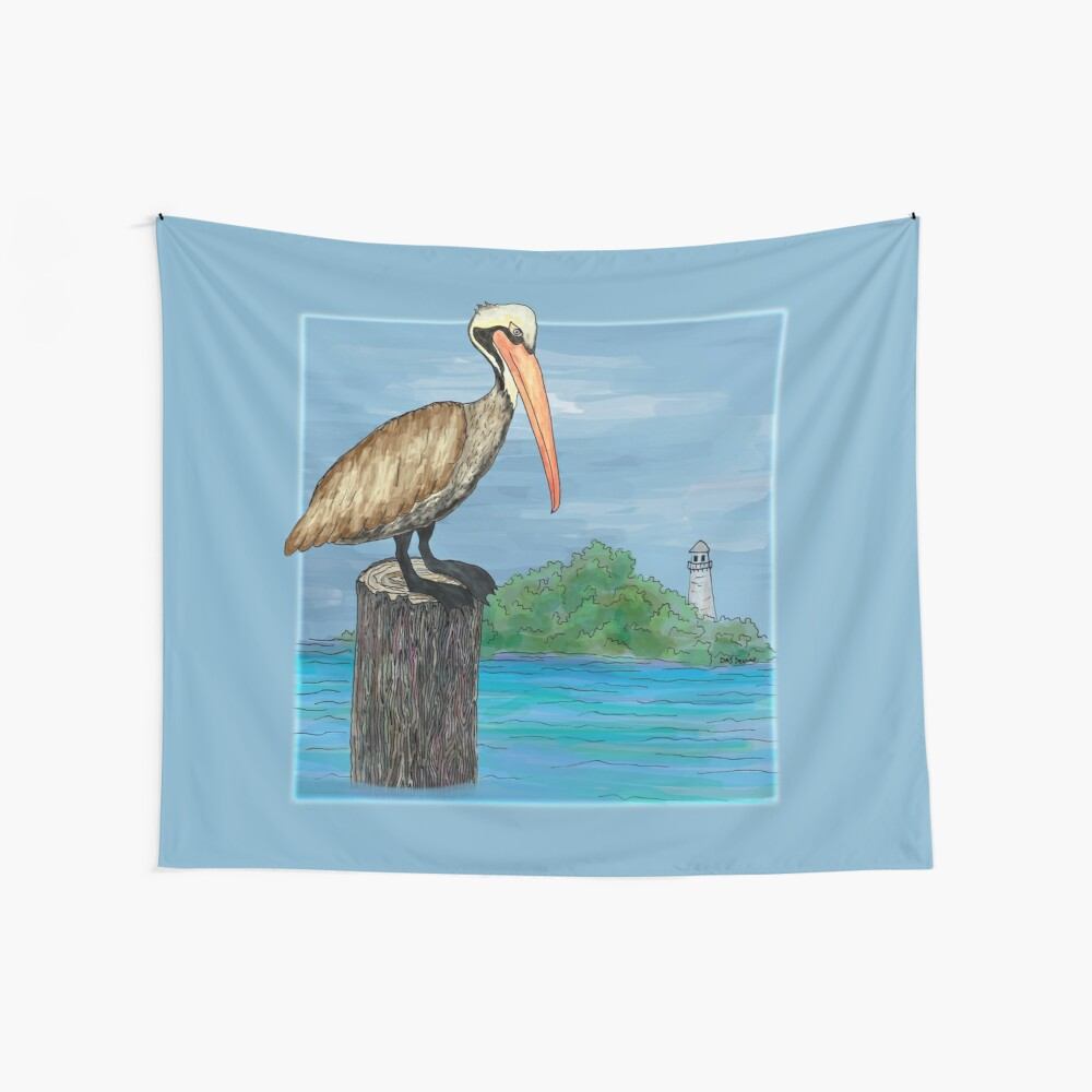 Brown Pelican At Sea With Lighthouse Wall Tapestry