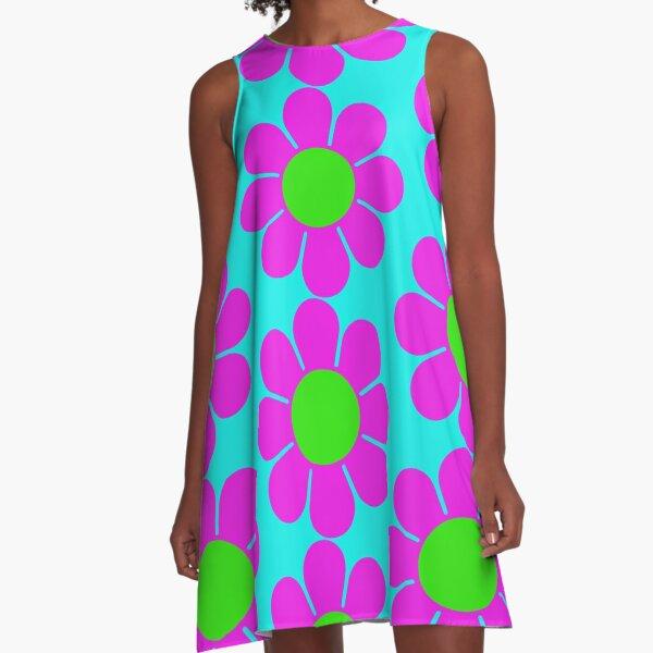 Pink Green Hippy Flower Daisy A-Line Dress