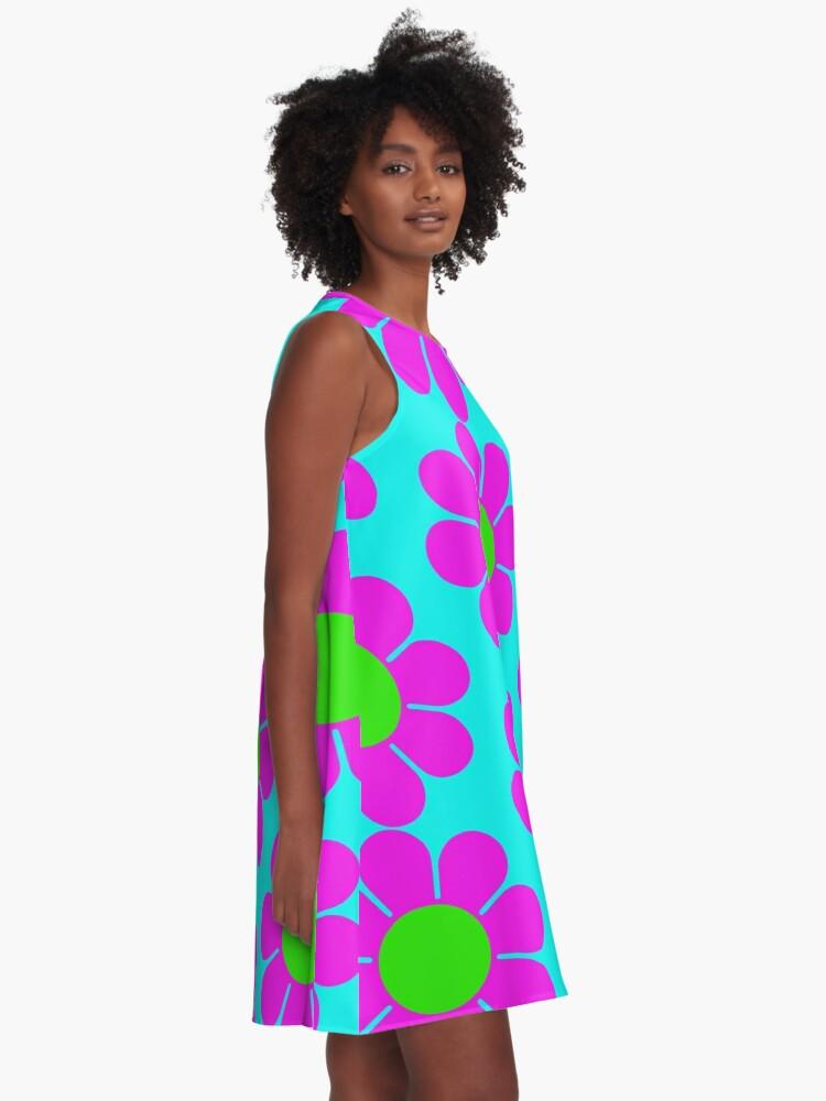 Alternate view of Pink Green Hippy Flower Daisy A-Line Dress