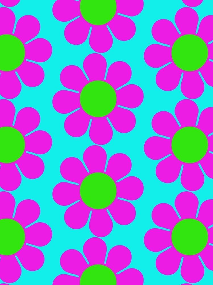 Pink Green Hippy Flower Daisy by hilda74