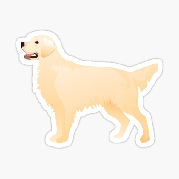 Cream Golden Retriever Basic Breed Silhouette Sticker