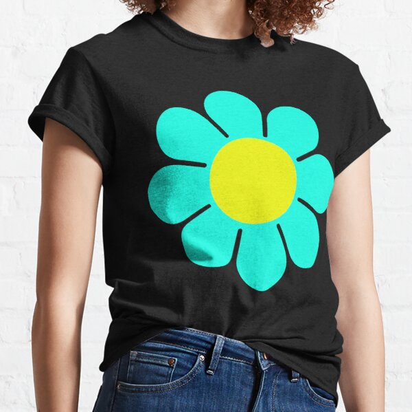 Teal Turquoise Yellow Hippie Flower Daisy Classic T-Shirt