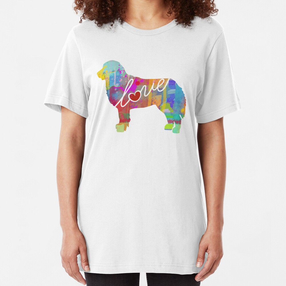 Bernese Mountain Dog Love - A Bright and Colorful Watercolor Style Gift Slim Fit T-Shirt