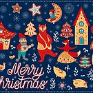 Weihnachtstänze. Zwerge, Bär, Fuchs, Ferkel, Hahn und Huhn, Häuser, Schneeflocken, Mond und Sterne. von Skaska