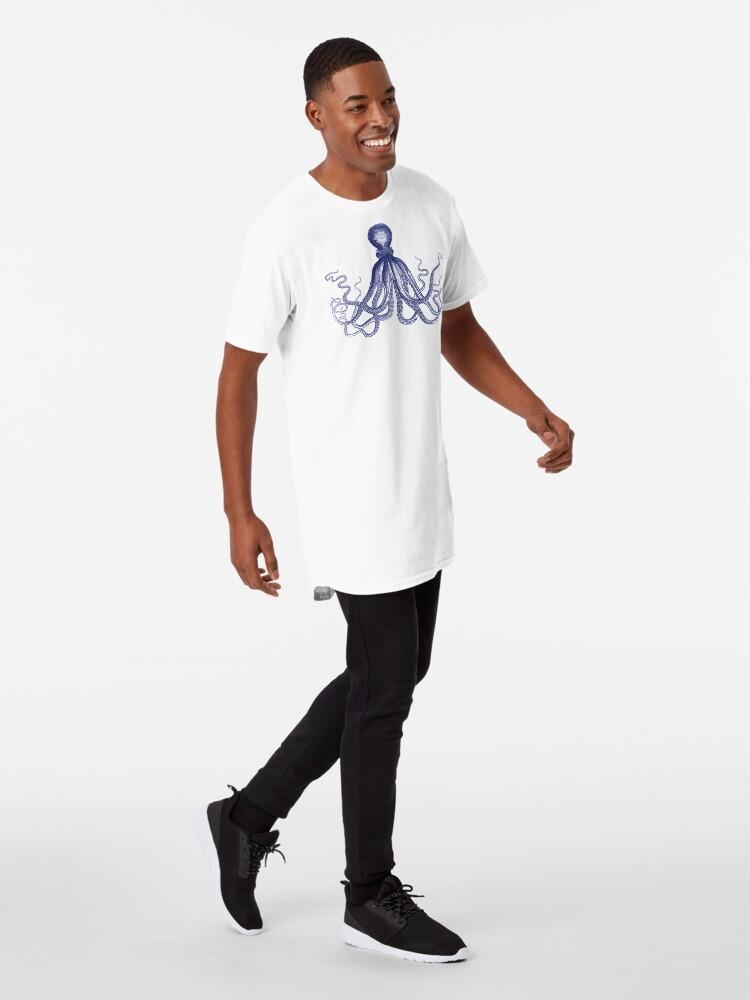Alternative Ansicht von Krake   Marineblau und Weiß   Longshirt