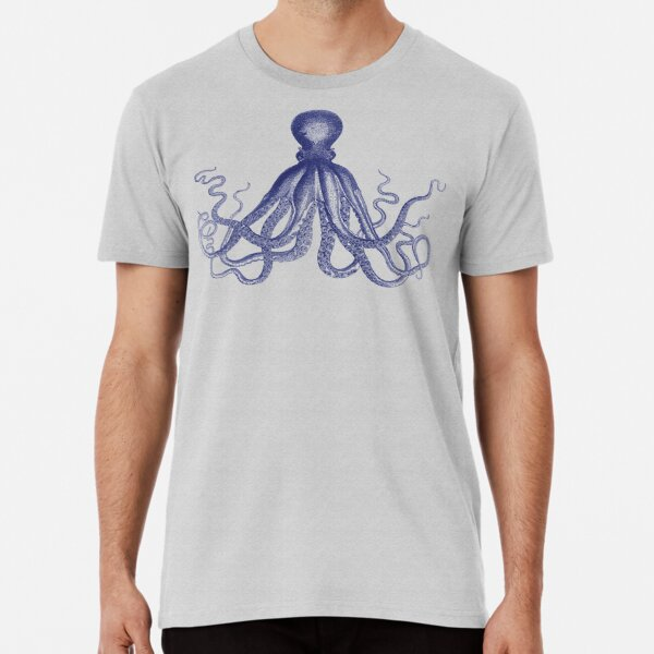 Octopus | Vintage Octopus | Tentacles | Sea Creatures | Nautical | Ocean | Sea | Beach | Navy Blue and White |  Premium T-Shirt