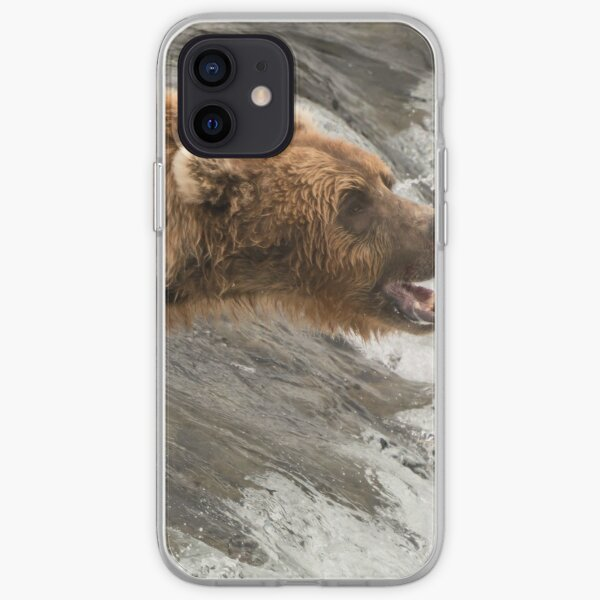 Brown bear about to catch a salmon iPhone Soft Case