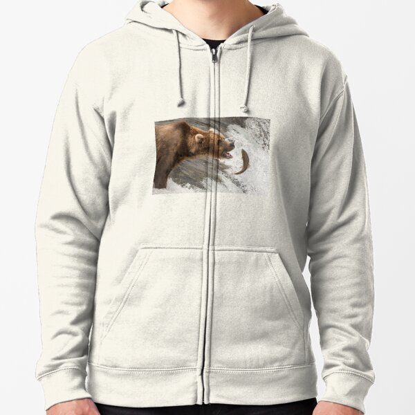 Brown bear about to catch a salmon Zipped Hoodie