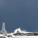 Frozen Lighthouse Facing the Storm by utilityimage