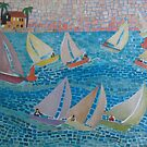 Racing Sailboats by Sally Sargent
