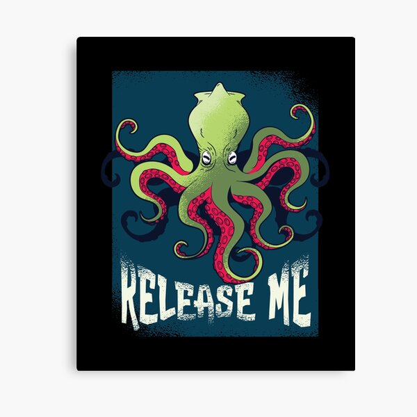 Release Me - Kraken Octopus Monster Pirate Ship Canvas Print