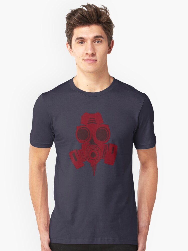 Gas mask RED halftone Unisex T-Shirt Front