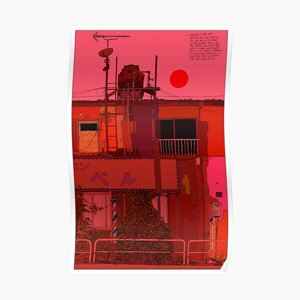 Red Shopfronts Tokyo Poster