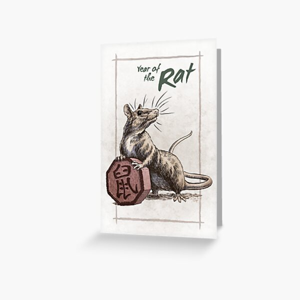Chinese Zodiac - Year of the Rat Greeting Card