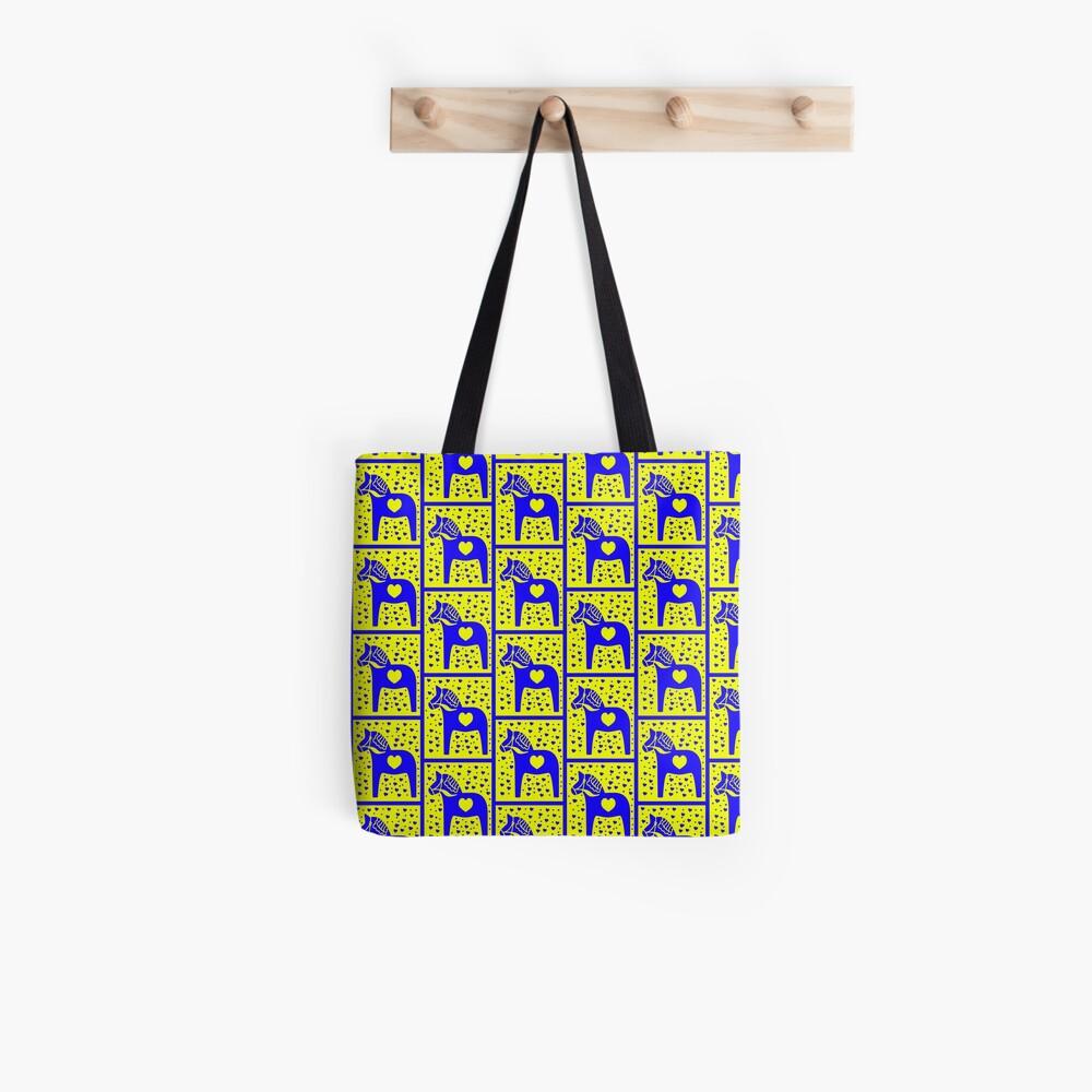 Schwedische Dala Horse Blue Stamped Look Tote Bag