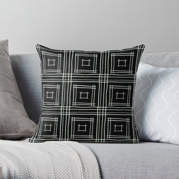 Hand-drawn Squares in Black & Gray Throw Pillow