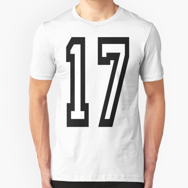 17, 17th, TEAM SPORTS, NUMBER 17, SEVENTEEN, SEVENTEENTH, ONE, SEVEN, Competition. Slim Fit T-Shirt