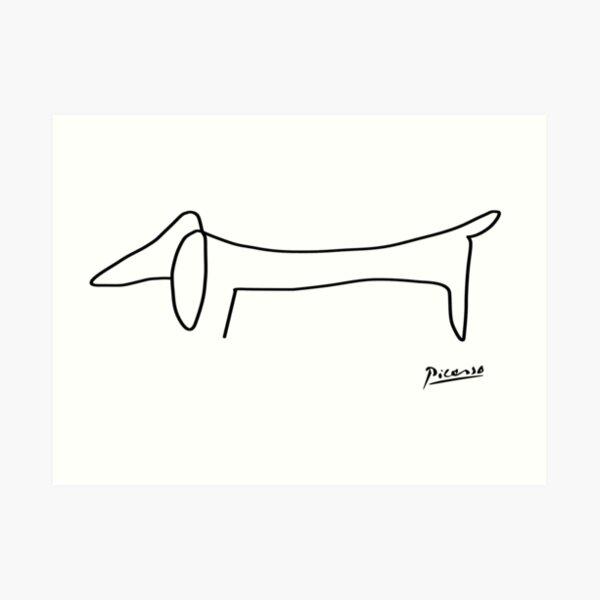 Picasso Sketch Line ''Dog'' Art Print