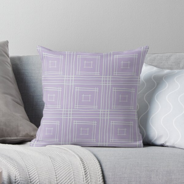 Hand-drawn Squares in Lavender & Light Gray Throw Pillow