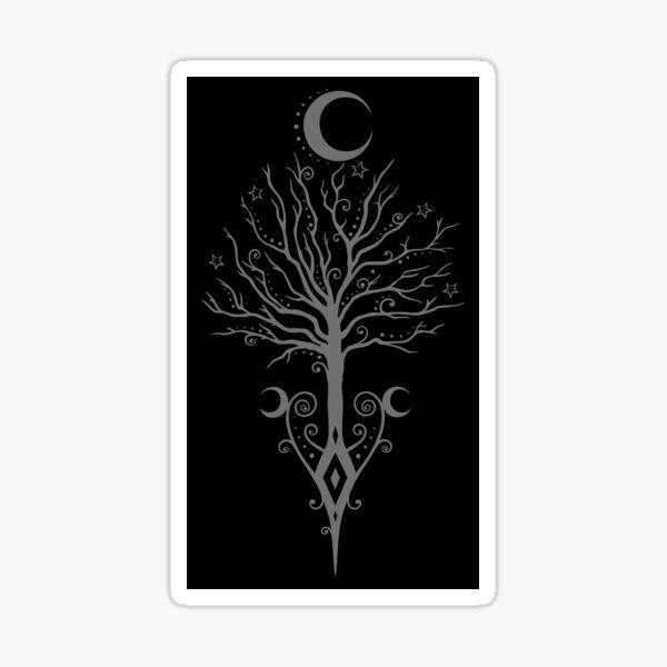 Baum Mond Nacht Sterne Mondbaum Sticker