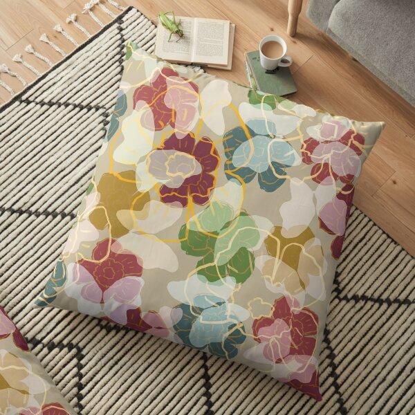 Butterflowers Cream Floor Pillow
