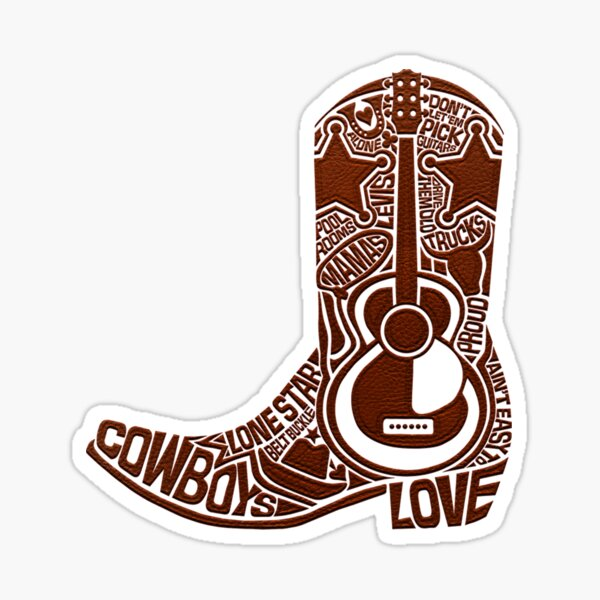 MUSIC. COUNTRY AND WESTERN. COUNTRY MUSIC. COWBOY BOOT. Sticker