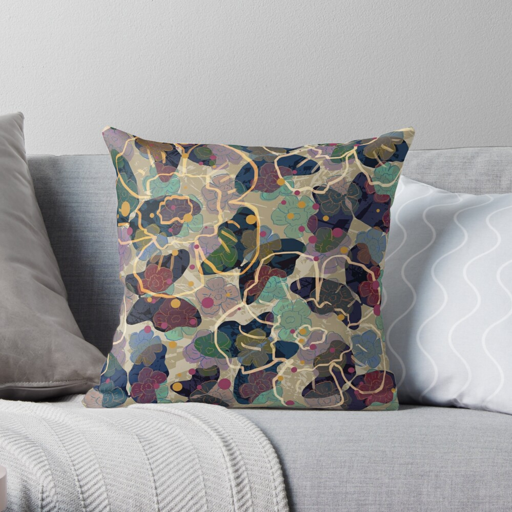 Butterflowers French Grey Throw Pillow