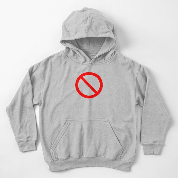 NO Symbol. Prohibition, Sign, Prohibited. IN RED. Kids Pullover Hoodie