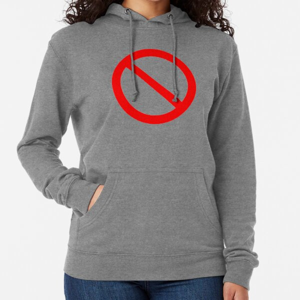 NO Symbol. Prohibition, Sign, Prohibited. IN RED. Lightweight Hoodie