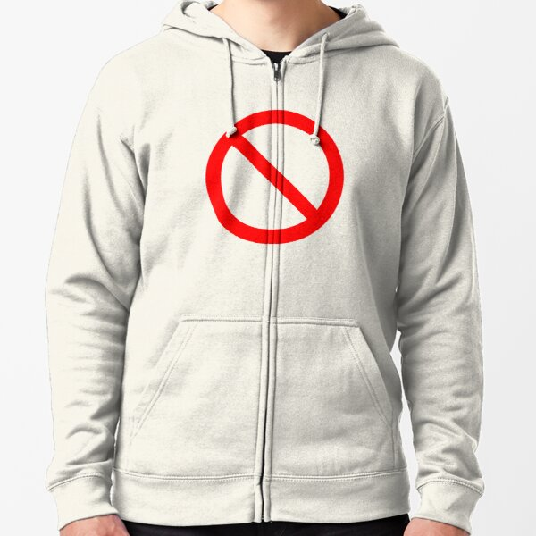 NO Symbol. Prohibition, Sign, Prohibited. IN RED. Zipped Hoodie