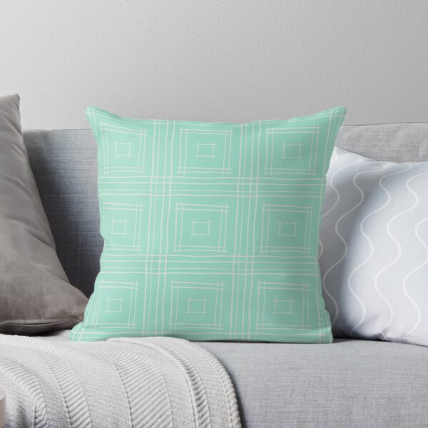Hand-drawn Squares in Mint Green & Light Gray Throw Pillow