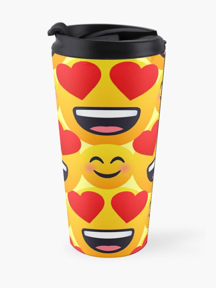 Alternate view of Love emojis pattern Travel Mug