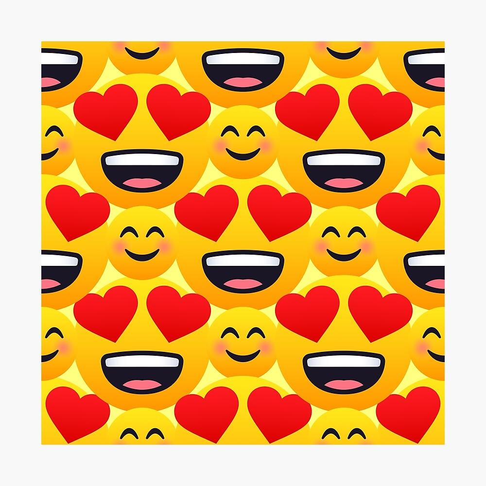 Love emojis pattern Photographic Print