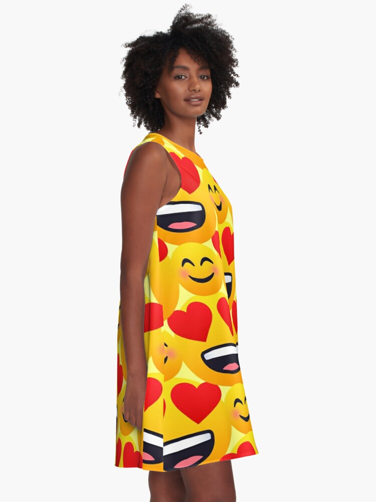 Alternate view of Love emojis pattern A-Line Dress