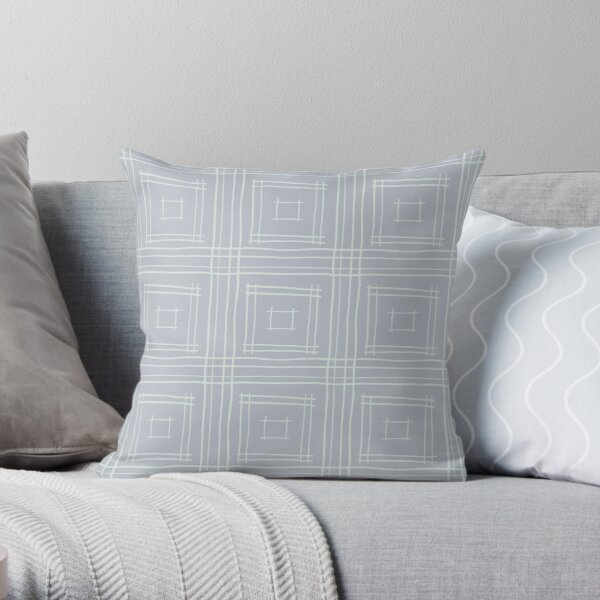 Hand-drawn Squares in Silver & Light Gray Throw Pillow