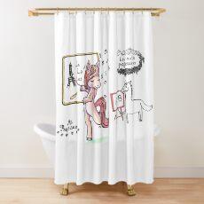 French Teacher singing unicorn Shower Curtain