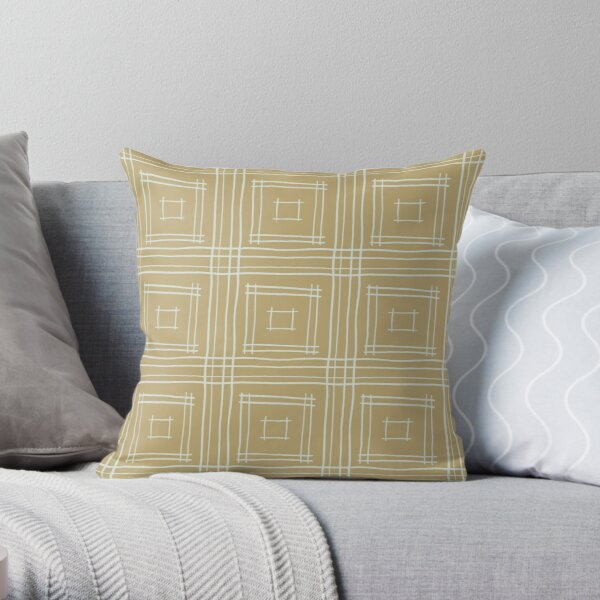 Hand-drawn Squares in Tan & Light Gray Throw Pillow
