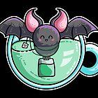 Bat-tea Pun of Kawaii Cute Bat and Green Tea by Fiona Reeves